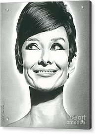 Audrey Hepburn Smile Charcoal Pencil Drawing 2012 Acrylic Print