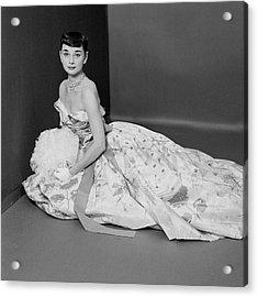 Audrey Hepburn Wearing An Adrian Dress Acrylic Print by Richard Rutledge