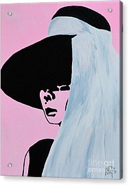 Audrey Hepburn Wears A Hat Acrylic Print by Alys Caviness-Gober