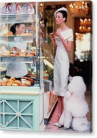 Audrey Marnay At A Patisserie With A Poodle Acrylic Print