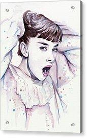 Audrey - Purple Scream Acrylic Print by Olga Shvartsur