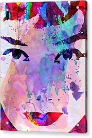 Audrey Watercolor Acrylic Print by Naxart Studio