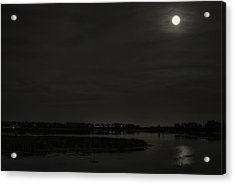 August Full Moon Over Lake Wausau Acrylic Print