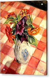 Aunt Alma's Flowers - 1944 Acrylic Print