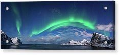 Aurora Borealis Above Flaget Bay Acrylic Print by Panoramic Images