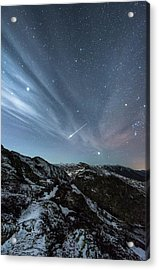 Aurora Borealis And Shooting Star Acrylic Print by Tommy Eliassen