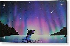 Aurora Borealis And Whale Acrylic Print