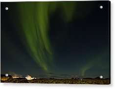 Aurora Borealis Over Iceland Acrylic Print by Andres Leon