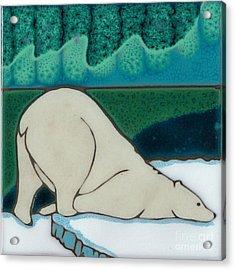 Aurora Borealis Polar Bear Acrylic Print by Elany  Prusa