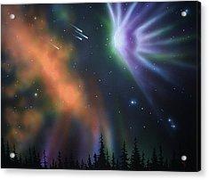 Aurora Borealis With 4 Shooting Stars Acrylic Print