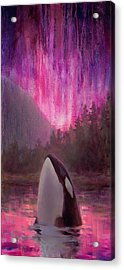 Orca Whale And Aurora Borealis - Killer Whale - Northern Lights - Seascape - Coastal Art Acrylic Print