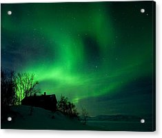 Aurora Over Lake Tornetrask Acrylic Print by Max Waugh