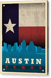 Austin City Skyline State Flag Of Texas Art Poster Series 010 Acrylic Print