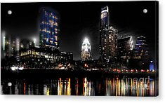 Austin Night Skyline Reflections  Acrylic Print by Gary Gibich