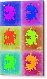 Austin Pop Art Map 4 Acrylic Print by Naxart Studio