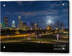 Austin Skyline With Easter Moon Acrylic Print by Tod and Cynthia Grubbs