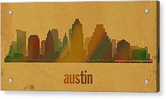Austin Texas City Skyline Watercolor On Parchment Acrylic Print