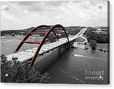 Acrylic Print featuring the digital art Austin Texas Pennybacker 360 Bridge Color Splash Black And White by Shawn O'Brien