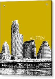 Austin Texas Skyline - Gold Acrylic Print by DB Artist
