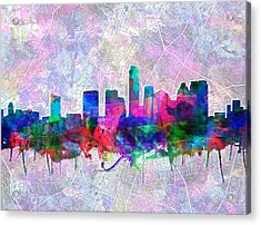 Austin Texas Skyline Watercolor 2 Acrylic Print