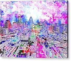 Austin Texas Watercolor Panorama Acrylic Print