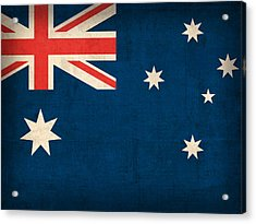 Australia Flag Vintage Distressed Finish Acrylic Print by Design Turnpike