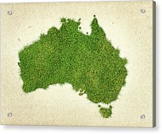 Australia Grass Map Acrylic Print by Aged Pixel