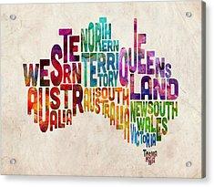 Australia Typographic Text Map Acrylic Print by Michael Tompsett