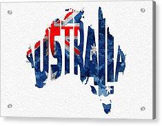 Australia Typographic World Map Acrylic Print by Ayse Deniz