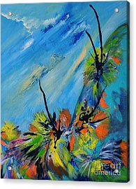 Acrylic Print featuring the painting Australian Grasstrees by Lyn Olsen
