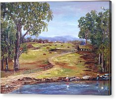 Acrylic Print featuring the painting Australian Landscape Children Fishing by Renate Voigt