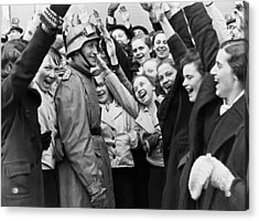Austrians Cheer Panzer Driver Acrylic Print by Underwood Archives