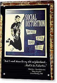 Autographed Poster Of Rock Legend Mike Ness  Acrylic Print by Renee Anderson