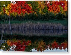 Autum At Orchard Pond Acrylic Print by Gene Sherrill