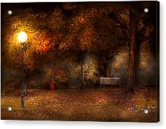 Autumn - A Park Bench Acrylic Print by Mike Savad