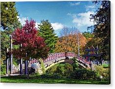 Autumn At Bradley Park Japanese Bridge 03 Acrylic Print