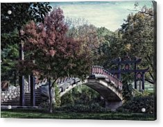 Autumn At Bradley Park Japanese Bridge Textured Acrylic Print