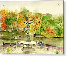 Autumn At Central Park Ny Acrylic Print by Melly Terpening