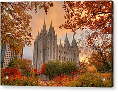 Autumn At Temple Square Acrylic Print by Dustin  LeFevre