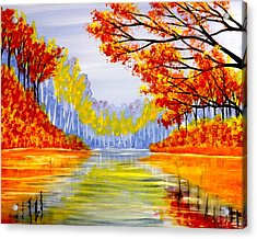 Acrylic Print featuring the painting Autumn At The Lake by Darren Robinson