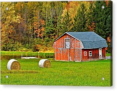 Autumn Barn And Bales Of Hay Acrylic Print by Frozen in Time Fine Art Photography