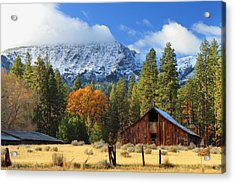 Autumn Barn At Thompson Peak Acrylic Print
