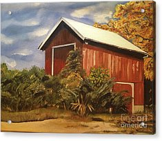 Acrylic Print featuring the painting Autumn - Barn - Ohio by Jan Dappen