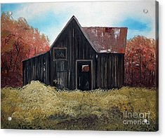 Acrylic Print featuring the painting Autumn - Barn -orange by Jan Dappen