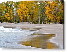 Autumn Beach Acrylic Print by Frozen in Time Fine Art Photography