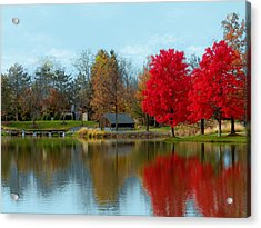 Autumn Beauty On A Pond Acrylic Print by Ron Grafe