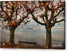Autumn Bench Acrylic Print by Caroline Pirskanen
