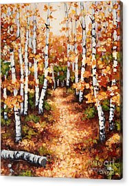 Autumn Birch Trail Acrylic Print