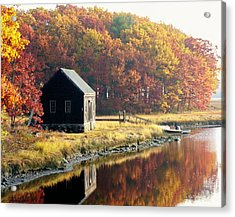 Acrylic Print featuring the photograph Autumn Boathouse by Elaine Franklin