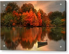 Autumn Canoe Acrylic Print by Robin-Lee Vieira